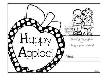 Apple Book - Black and White Printable