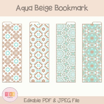 graphic relating to Divider Tabs Printable named Free of charge Printable Aqua Beige Bookmarks with Tabs, Planner