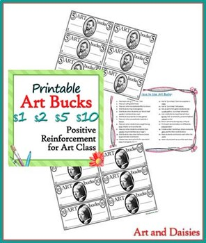 graphic relating to Printable Reward Bucks identified as Printable Artwork Dollars - Artwork Cl Added benefits inside $1, $2, $5 and $10 Denominations