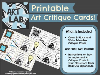 Printable Art Critique Cards - Just Print, Cut, Discuss!