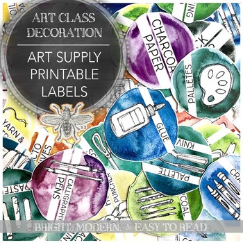 Printable Art Supply Labels for K through College Level Visual Art Classrooms
