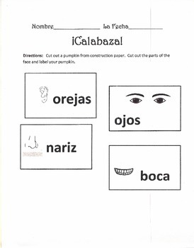 Printable - Autumm Pumpkin Activity - Parts of Face in Spanish