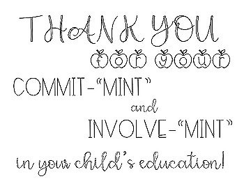 "Printable B&W Parent Thank You ""Mint"" Signs- Great for Conferences!"