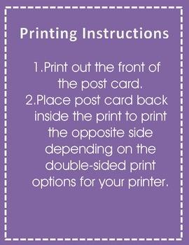Printable Back to School Postcard
