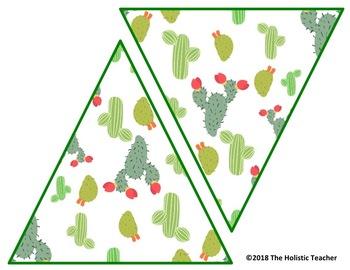 Printable Banner - Cactus/Succulents - DIY Classroom Banner - Editable