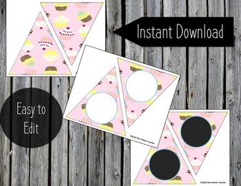 Printable Banner - Cupcakes - DIY Classroom Banner - Editable