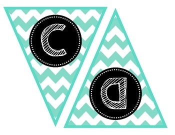 Banner Letters {Turquoise Chevron}, Scribble Font
