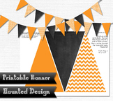 Printable Banner Orange Zigzag Chalkboard Classroom Party