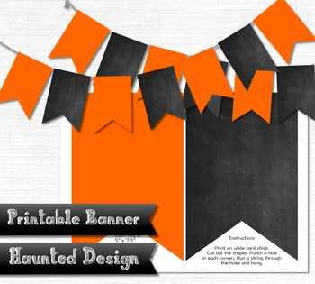 Printable Banner Orange Zigzag Chalkboard Classroom Party 300 DPI JPEG PDF