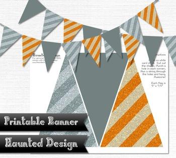 Printable Banner Orange and Gray Stripes Celebration 300 DPI JPEG PDF