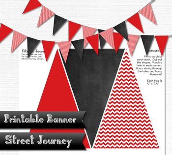 Printable Banner Red Zigzag Chalkboard Party Holiday Christmas 300 DPI JPEG PDF