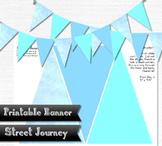 Printable Banner Snow and Ice Blue Winter Party Holiday 300 DPI JPEG PDF