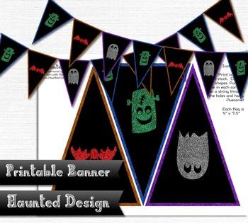 Printable Banner with Halloween Ghost Bat and Frankenstein Glitter  300 DPI PDF