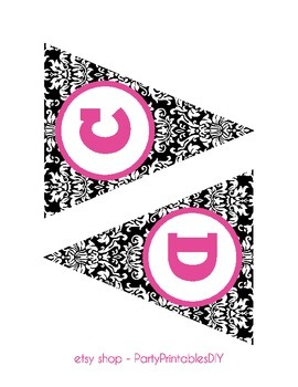 Alphabet Banner with Letters, and Numbers - Black Damask with Hot Pink