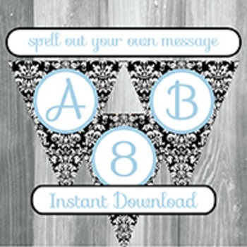 Alphabet Banner with Letters, and Numbers - Black Damask with Light Blue