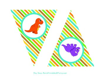 Alphabet Banner with Letters, and Numbers - Dinosaurs