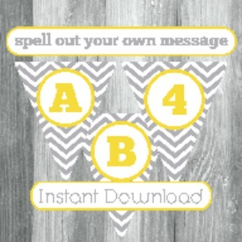 Alphabet Banner with Letters, and Numbers - Grey Chevron with Yellow