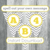 Alphabet Banner with Letters, and Numbers - Grey Chevron w