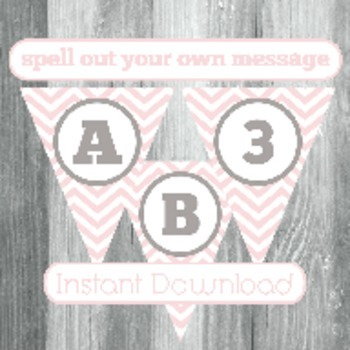 Alphabet Banner with Letters, and Numbers - Pink Chevron with Grey
