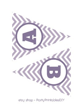 Alphabet Banner with Letters, and Numbers - Purple Chevron