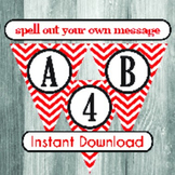 Alphabet Banner with Letters, and Numbers - Valentine's Da