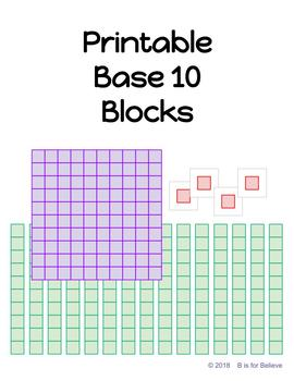 photo regarding Base 10 Blocks Printable titled Printable Foundation 10 Block Manipulatives