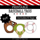 Printable Tags, Baseball, Labels, Sports Tags - Classroom Decoration