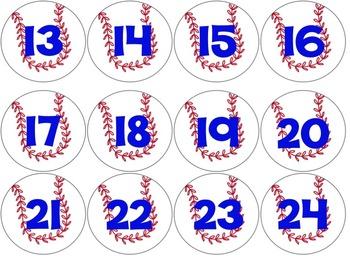 Printable Classroom Calendar- Baseball Theme