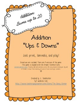 "Printable Basic Addition Practice Game: ""Ups and Downs"""