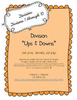 "Printable Basic Division Practice Game: ""Ups and Downs"""