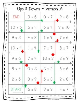 """Printable Basic Multiplication Practice Game: """"Ups and Downs"""""""