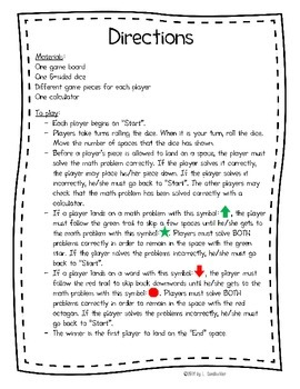 """Printable Basic Subtraction Practice Game: """"Ups and Downs"""""""