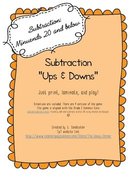 "Printable Basic Subtraction Practice Game: ""Ups and Downs"""