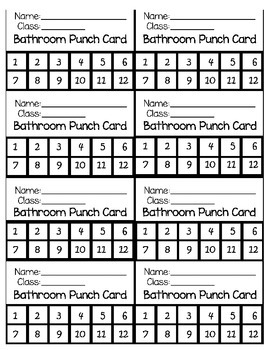 graphic relating to Printable Punch Cards named Printable: Rest room Punch Card