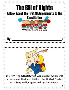Printable Bill of Rights Booklet for Elementary