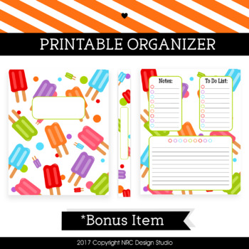 Printable Binder Cover, Popsicle Printable, Organizer - Teacher Planner