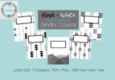 Printable Binder Covers- Editable- Black and White- 5 Designs with Spines