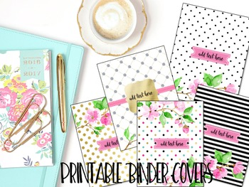 Editable Binder Covers- Set of 5 Gold