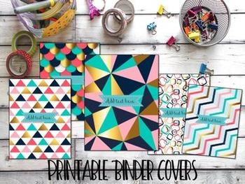 Editable Binder Covers- Set of 5 Gold Geometric