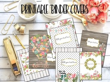 Editable Binder Covers- Set of 6 Magnolia