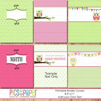 Printable Binder Covers with Little Owl in Pink and Green- Add your Own Text