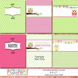 Printable Binder Covers with Little Owl in Pink and Green-