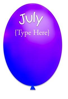 Printable Birthday Balloons