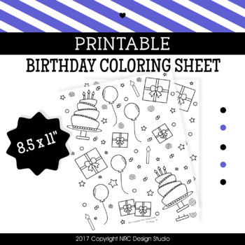 Printable Birthday Coloring Page, Classroom Activities