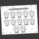 Printable Birthday Sign, Cupcake Theme, Classroom Decoration