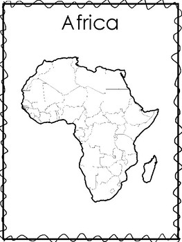 Printable Black and White Continent Maps and List of Countries. Geography .
