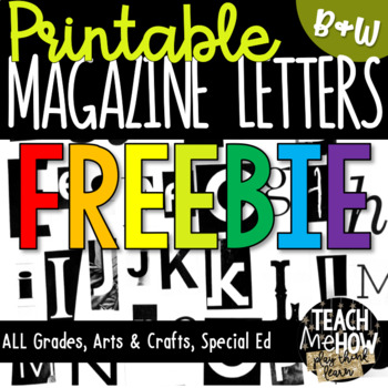 Printable Magazine Letters Black White Alphabet A Z Word Work