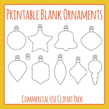 Printable Blank Christmas Ornaments Clip Art Pack for Commercial Use
