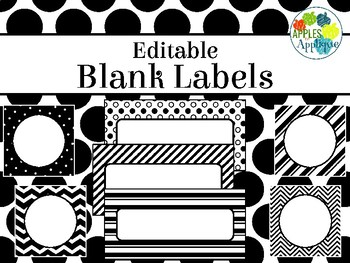 Printable Blank Labels in Black and White Theme