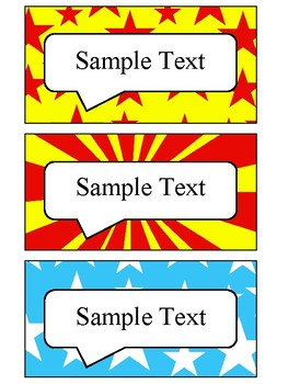 Editable Blank Labels in Comic Book Theme